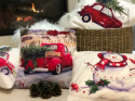 CHRISTMAS PILLOW PAINTED RED CAR